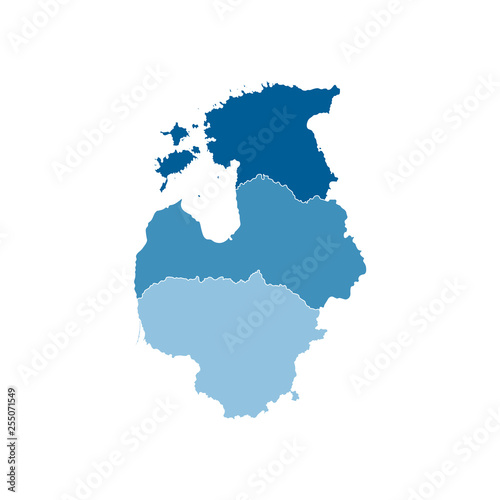 Vector illustration with simplified map of European Baltic ...