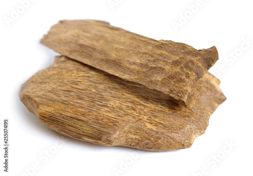 Photo Agarwood, also called aloeswood oudh, isolated on white background