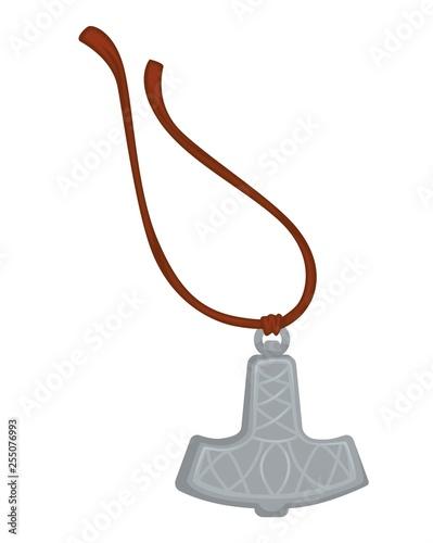 Photo  Viking amulet silver pendant on rope Mjolnir hammer of Thor