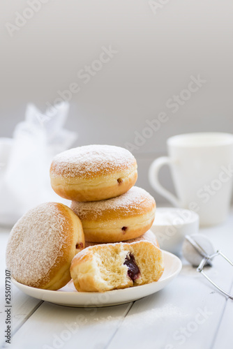 Traditional German Polish Donut with Raspberry Jam Dusted with Icing Sugar Canvas Print