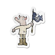 Retro Distressed Sticker Of A Cartoon Wolf Man Waving Pirate Flag