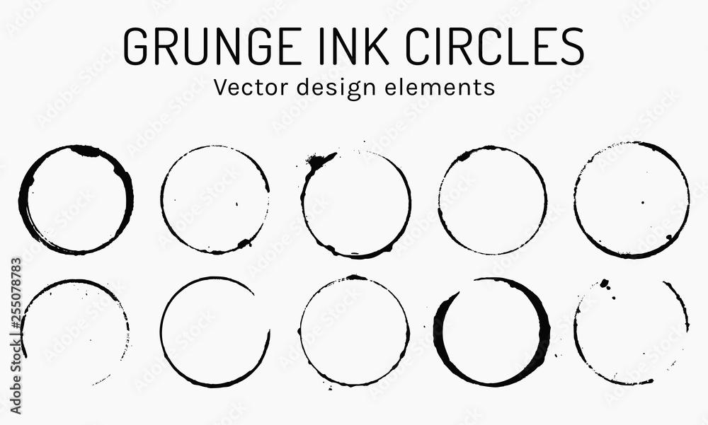 Fototapeta Grunge ink circles. Vector coffee rings.