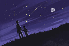 Father And Son Stand And Look At The Stars