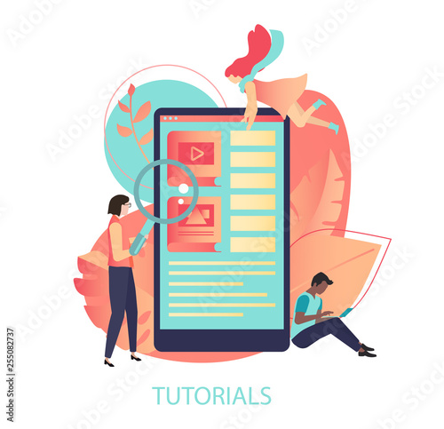 Web Tutorials Color Illustration With Smartphone And People