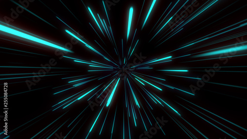 Canvastavla Abstract tunnel speed light Starburst background dynamic technology concept, blu