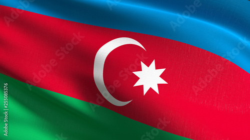 Azerbaijan national flag blowing in the wind isolated Canvas Print