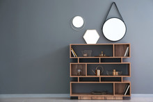 Wooden Shelving Unit With Gold...