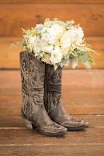 Bridal Bouquet In Cowboy Boots