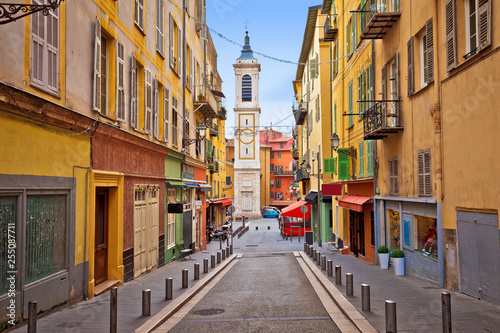 Deurstickers Nice Town of Nice colorful street architecture and church view