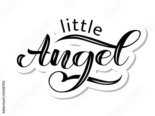 Photo  Little Angel brush lettering for clothes, card