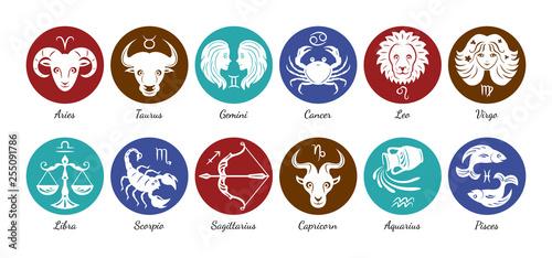 Obraz Set of zodiac signs icons. Aries, leo, gemini, taurus, scorpio, aquarius, pisces, sagittarius, libra, virgo, capricorn and cancer. Vector illustration in cartoon simple style.  - fototapety do salonu