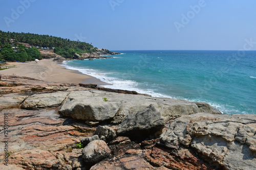 India, Kerala. Beach of the Indian ocean in sunny day Canvas Print