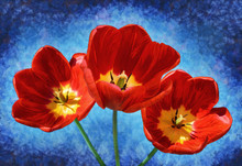 Red Tulips On Vibrant Blue Background, Impressionist Oil Painting