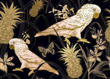 Seamless Black Background With Gold Parrot, Flowers, Butterfly And Pineapple.