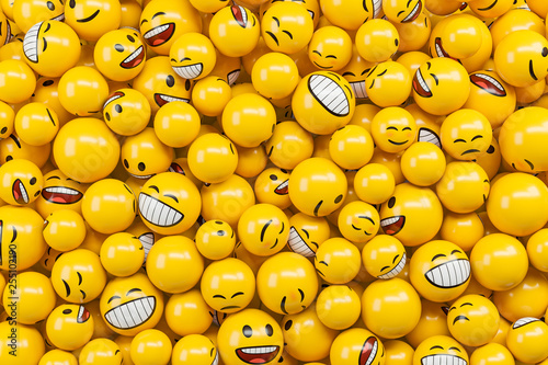 Background made of diffirent emoji emoticon characters. Canvas Print