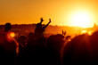 canvas print picture - Girl cheering at outdoor music, rock festival