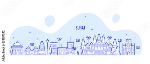 Surat Skyline Gujarat India City Buildings Vector Buy This