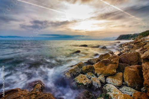 Fotografie, Obraz  Beauty sea rocky coast with color moss on the stones. Black sea