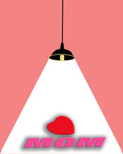 Drawing Of Single Dark Lamp With Wide Industrial Metal Hanging From Ceiling With Pink Wall