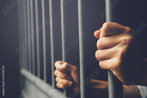 Fototapeta Man in prison hands of behind hold Steel cage jail bars