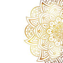 Clean White Cover With Gold Beautiful Flower. Golden Vector Mandala Isolated On White Background. A Symbol Of Life And Health. Invitation, Wedding Card, Scrapbooking, Magic Symbol.
