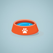 Dog Bowl Vector Icon.