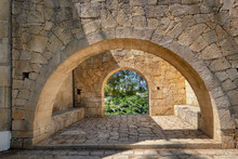 Stone Arches In Monastery Garden, Arkadi Monastery In Crete