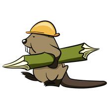 Beaver Builder Carries A Woode...