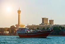 Tourist Boats Abra On Canal Dubai, UAE Old Town