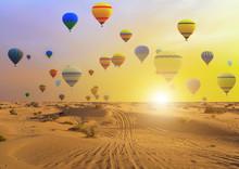 Hot Air Balloons Sunset Sand D...