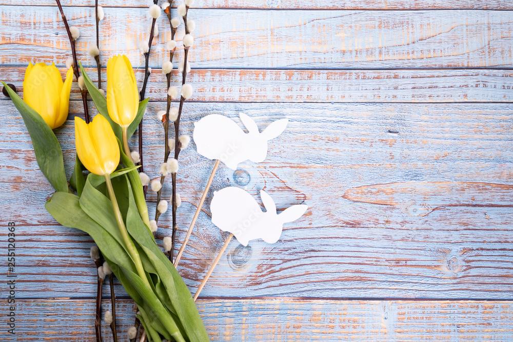 Fototapeta Pastelowe tło wielkanocne. Święta Wielkanocne. Kolorowe tło.