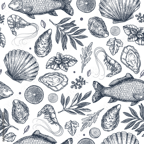 Fotomural Seafood restaurant seamless pattern