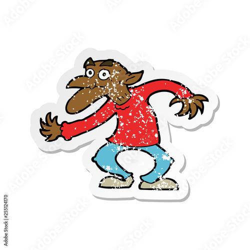 Photo  retro distressed sticker of a cartoon goblin