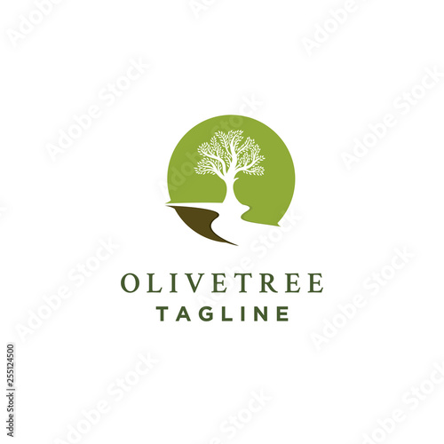 Photographie olive tree logo designs with rivers