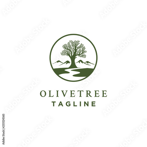 Photo olive tree logo designs with creeks or rivers symbol
