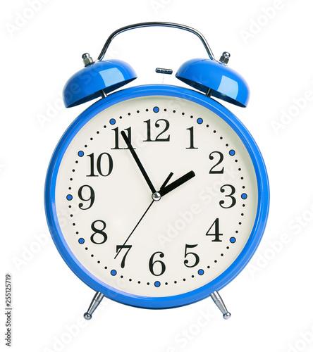 Vászonkép Blue alarm clock on white background