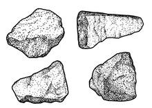Rock, Pebble Illustration, Drawing, Engraving, Ink, Line Art, Vector