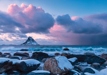 Storm At Sunset From The White Beach Of Bleiksstranda With The  Bleiksoya Island In The Background Bleik Andøya  Vesteralen District Of Nordland County Norway Europe