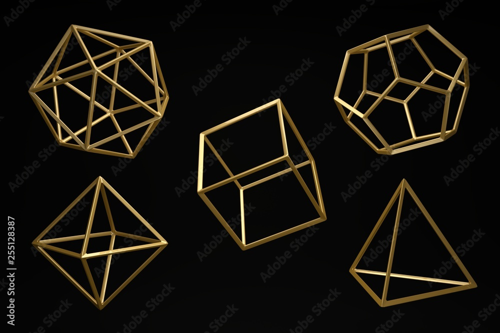 Fototapety, obrazy: Golden Platonic solids on a dark black background. Abstract photorealistic 3d , Minimalist design for poster, cover, branding, banner, placard..