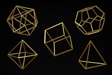 Golden Platonic Solids On A Dark Black Background. Abstract Photorealistic 3d , Minimalist Design For Poster, Cover, Branding, Banner, Placard..