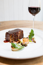 Beef Brisket With Mushrooms, Sage And A Glass Of Red Wine