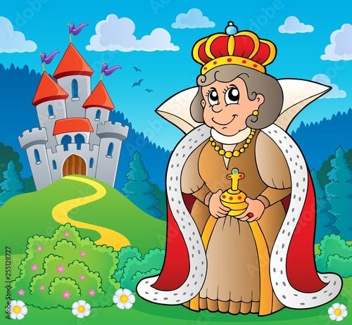 Foto op Canvas Voor kinderen Happy queen near castle theme 4