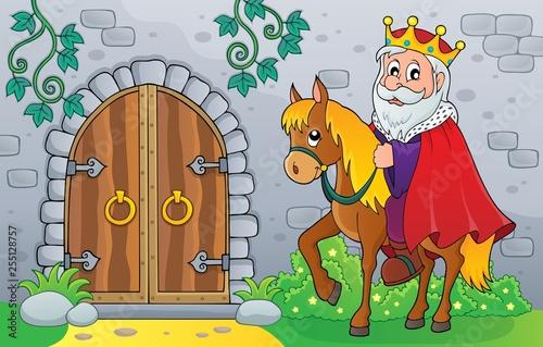 Foto op Canvas Voor kinderen King on horse by old door theme image 1