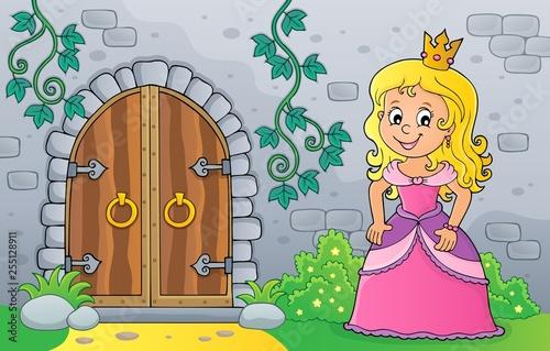 Foto op Canvas Voor kinderen Princess by old door theme image 1