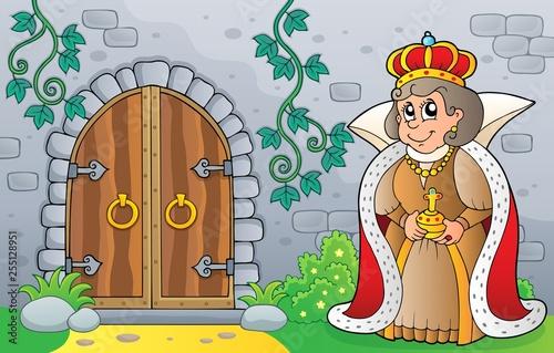 Foto op Canvas Voor kinderen Queen by old door theme image 1