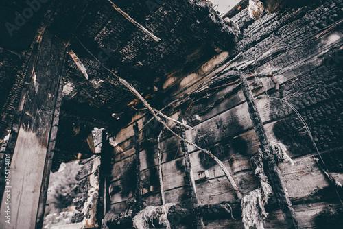 Interior of a burnt fire home Fototapeta