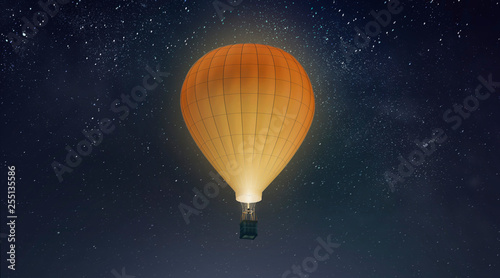 Cadres-photo bureau Montgolfière / Dirigeable Blank white balloon with hot air mockup, night sky background, 3d rendering. Empty adventure airship on star heaven mock up. Clear large transport for tourism or sport template.