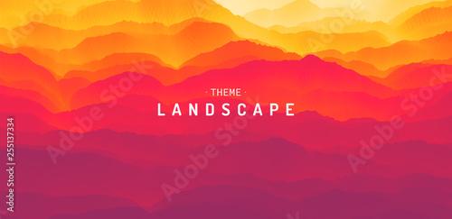 Pinturas sobre lienzo  Mountain landscape with a dawn