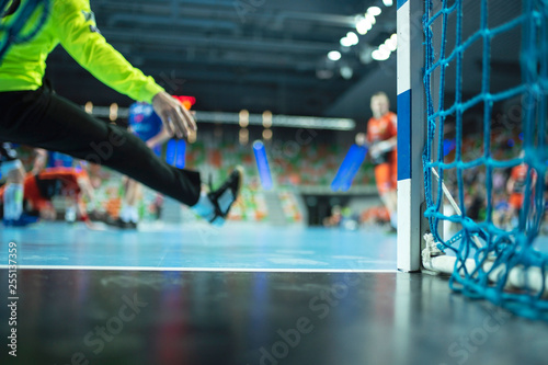 Detail of handball goal post with net and handball match in the background Fototapeta