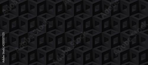 Fototapeten Künstlich Realistic 3d vector cubes texture, geometric black seamless pattern, design dark background for you projects